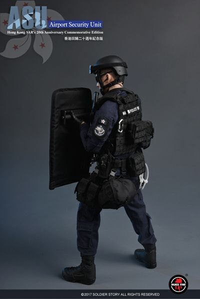 1//6 Scale Toy Hong Kong Airport Security Unit SAR 20th Anniversary Black Helmet