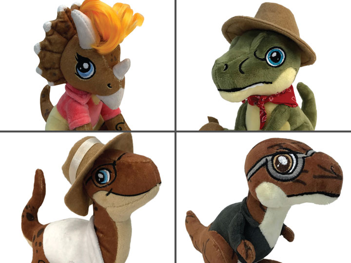 Aurora Monkey Stuffed Animal, Jurassic Park Clawzplay Plush Wave 1 Set Of 4