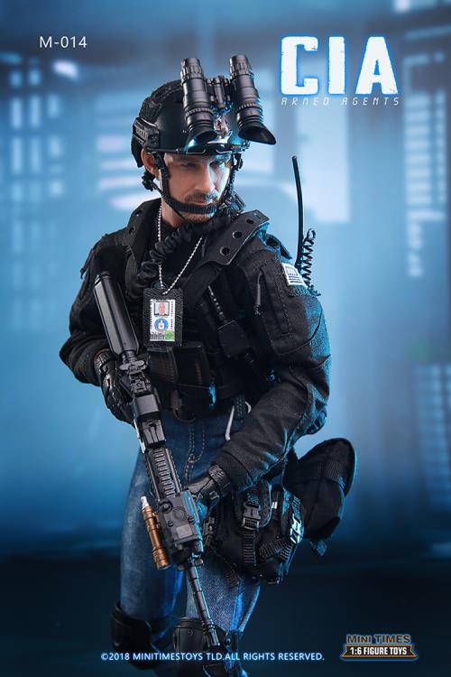 1//6 Scale Toy CIA-Armed agents-Noir casque avec NVG Set