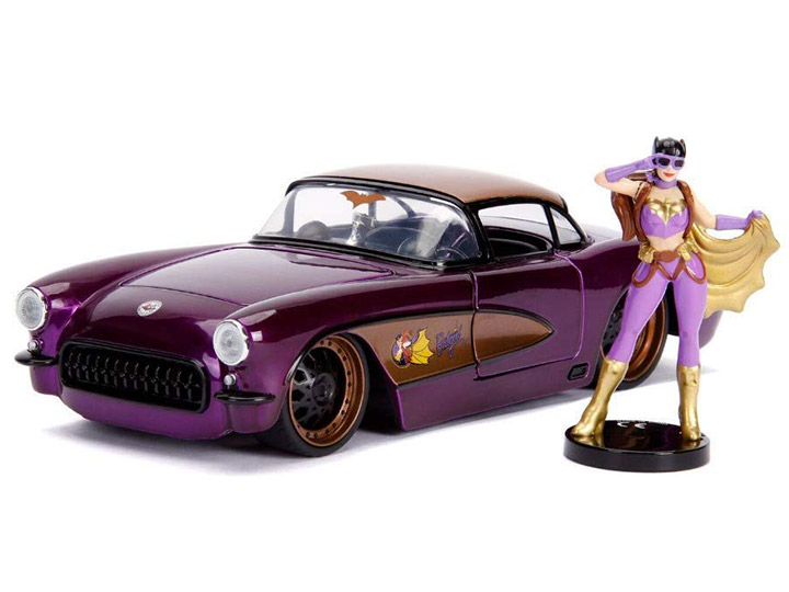 Jada Toys DC Comics Bombshells Batgirl /& 1957 Chevy Corvette Die-cast Car 1:24 Scale Vehicle /& 2.75-Inch Collectible Figurine 100/% Metal 30457