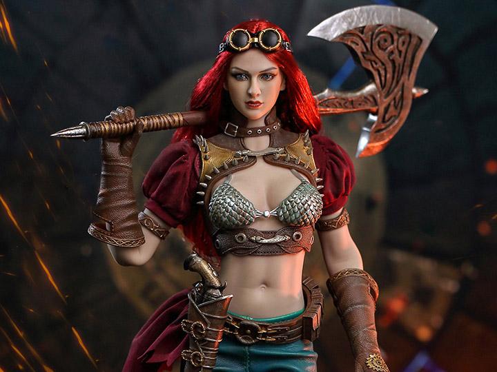 """1:6 TBLeague Steam Punk Red Sonja Battle Axe 12/"""" BBI Cy Girl Phicen Kumik"""