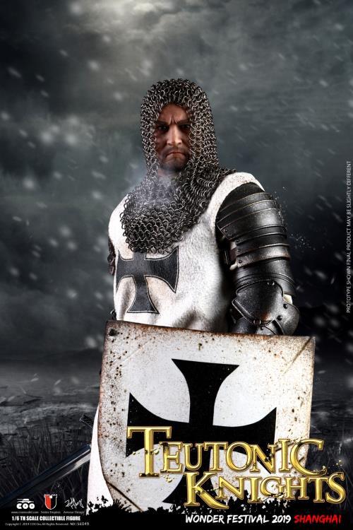 1//6 Scale-Coo figures Crusader Chevalier teutonique-Blanc /& Noir Croix Bouclier