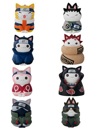 Naruto Nyaruto! Cats of Konoha Village Box of 8 Figures With Premium Can