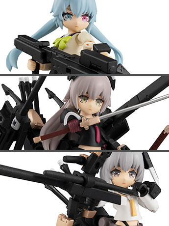 Heavily Armed High School Girls Desktop Army Team 1 Box of 3 Figures