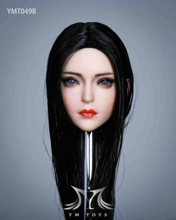 YM Toys 1//6 Female Action Figure Head with Black Hair #14B