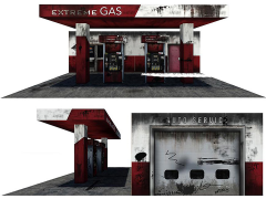 Gas Station 1/12 Scale Pop-Up Diorama