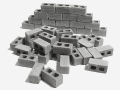 Mini Materials 1/24 Scale Mini Cinder Blocks (50 Pack)