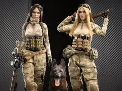 A-TACS FG Woman Soldier Jenner 1/6 Scale Figure Set With German Shepherd