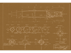 V-2 Rocket Brownline Aero-Art Blueprint Poster