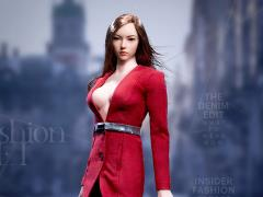 Fashionable Deep V-Neck Trench Coat (Red) 1/6 Scale Accessory Set