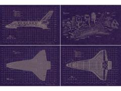 Space Shuttle Aero-Art Blueprint Set of 4 Posters