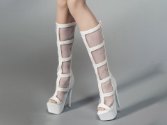 Female Fashion Mesh Boots (White) 1/6 Scale Accessory Set
