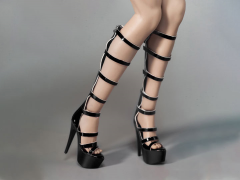 Female Fashion Strap Boots (Black) 1/6 Scale Accessory Set