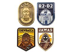 Star Wars R2-D2, C-3PO, Chewbacca and Jawa Pin Set