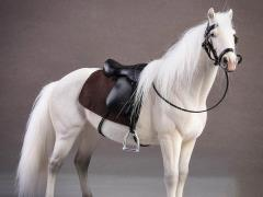 Hanoverian Horse (White) & Saddle 1/12 Scale Set