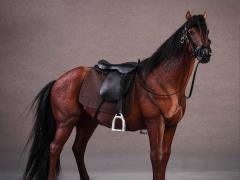 Hanoverian Horse (Brown) & Saddle 1/12 Scale Set