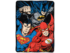 "DC Comics Justice League ""League Trio"" Micro Raschel Throw Blanket"