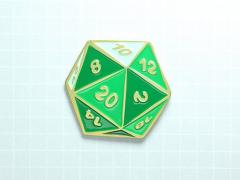 D20 Dice Enamel Pin (Emerald Green)
