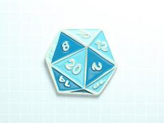 D20 Dice Enamel Pin (Turquoise Blue)