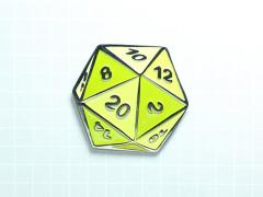 D20 Dice Enamel Pin (Ochre Yellow)