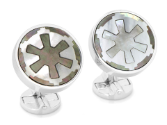 Star Wars Imperial Empire Logo Sterling Silver Mother Of Pearl Cufflinks
