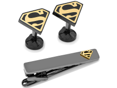 DC Comics Superman Black and Gold Cufflinks and Tie Clip Gift Set
