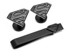 DC Comics Superman Satin Black Cufflinks and Tie Bar Gift Set