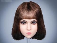 Mary Female Head Sculpt (Brown Hair) 1/6 Scale Accessory