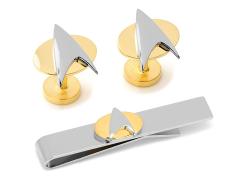 Star Trek Delta Shield Two Tone Cufflinks Tie Bar Gift Set