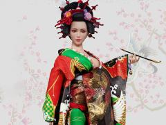Oiran Ichiya (Green & Red Furisode) 1/6 Scale Accessory Set