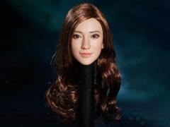 Asian 1/6 Scale Female Head Sculpt (Brown Curly Hair)