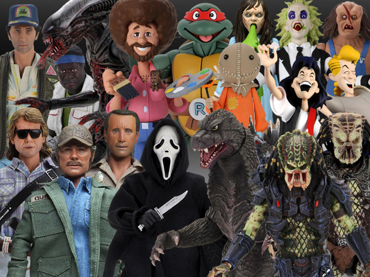 NECA: Jaws, Scream, They Live, Godzilla, Alien, Predator, TMNT, Toony Terrors, Bob Ross, Bill & Ted