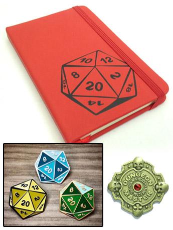 D20 Notebook, Pins, Pendants & More