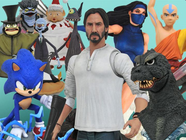 Diamond Select: John Wick, Mortal Kombat, NBX, Godzilla, Sonic, Marvel, DC