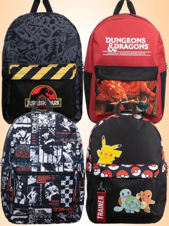 Backpacks: DnD, Jurassic Park, Cowboy Bebop
