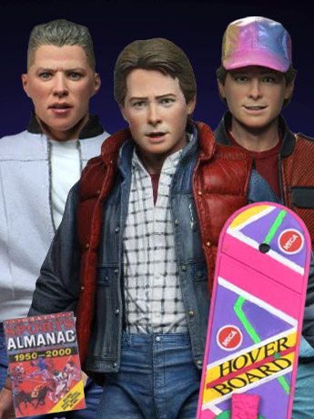"""NECA Back to the Future Ultimate Marty & Biff, 6"""" Die-Cast Time Machine, Toony Classics"""