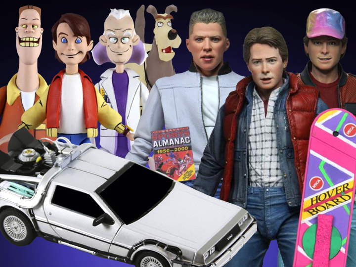 "NECA Back to the Future Ultimate Marty & Biff, 6"" Die-Cast Time Machine, Toony Classics"