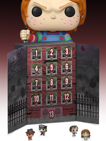 "Funko Pop! Spooky Advent Calendar, 10"" Chucky, Edward Scissorhands"