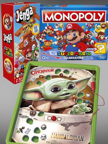 Games: Mandalorian Operation, Pac Man Monopoly, Super Mario Monopoly & Jenga