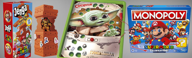 Games: Mandalorian Operation, Pac Man Monopoly, Super Mario Monopoly & Jenga