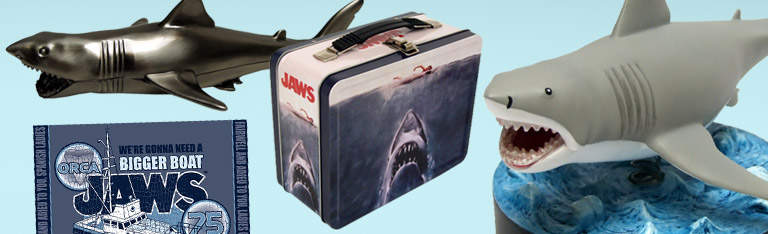 Jaws Statue, Bottle Opener, Tin Tote and Towel